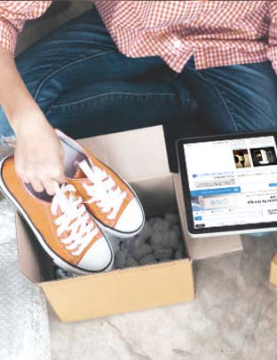 online retail customer experience orange shoes in a box