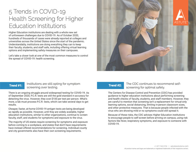 Cover for one-pager, 5 Trends in COVID-19 Health Screening for Higher Education Institutions
