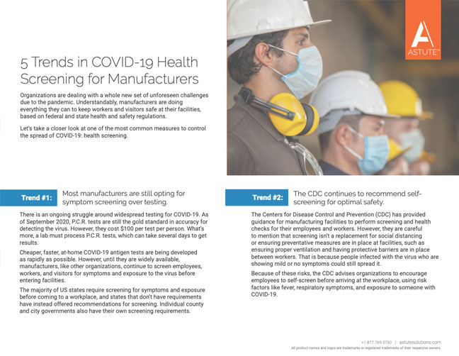 Cover for one-pager, 5 Trends in COVID-19 Health Screening for Manufacturers