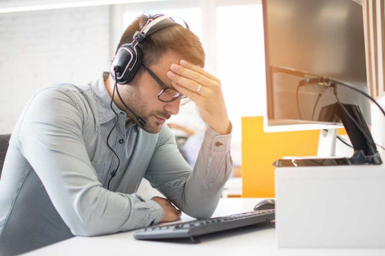 stressed agent who needs help from a call center outsourcer or automation